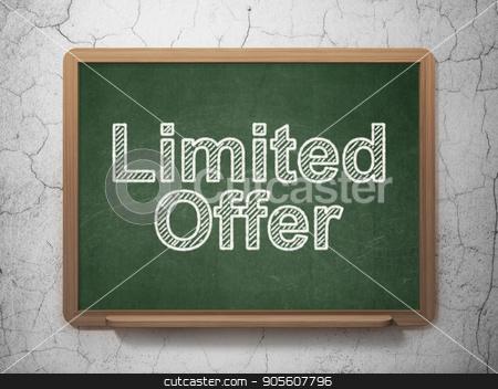 Business concept: Limited Offer on chalkboard background stock photo, Business concept: text Limited Offer on Green chalkboard on grunge wall background, 3D rendering by mkabakov