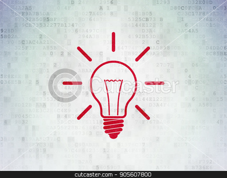 Finance concept: Light Bulb on Digital Data Paper background stock photo, Finance concept: Painted red Light Bulb icon on Digital Data Paper background by mkabakov