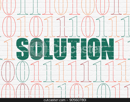 Business concept: Solution on wall background stock photo, Business concept: Painted green text Solution on White Brick wall background with Binary Code by mkabakov