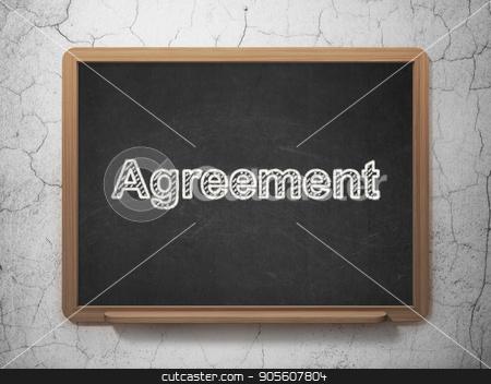 Finance concept: Agreement on chalkboard background stock photo, Finance concept: text Agreement on Black chalkboard on grunge wall background, 3D rendering by mkabakov