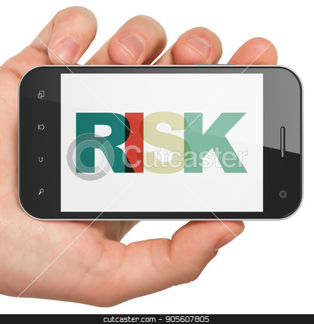 Business concept: Hand Holding Smartphone with Risk on  display stock photo, Business concept: Hand Holding Smartphone with Painted multicolor text Risk on display, 3D rendering by mkabakov