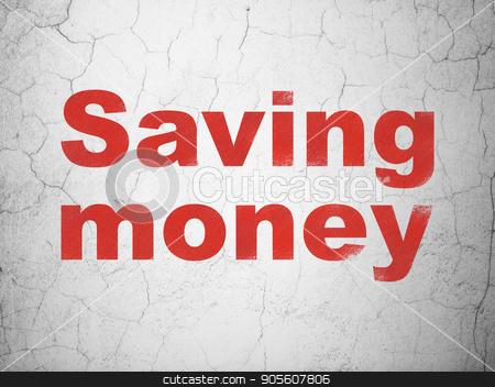 Business concept: Saving Money on wall background stock photo, Business concept: Red Saving Money on textured concrete wall background by mkabakov