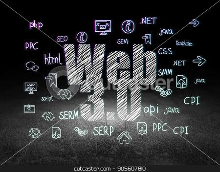 Web development concept: Web 3.0 in grunge dark room stock photo, Web development concept: Glowing text Web 3.0,  Hand Drawn Site Development Icons in grunge dark room with Dirty Floor, black background by mkabakov