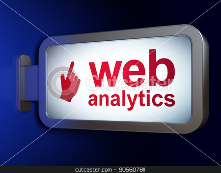 Web design concept: Web Analytics and Mouse Cursor on billboard background stock photo, Web design concept: Web Analytics and Mouse Cursor on advertising billboard background, 3D rendering by mkabakov