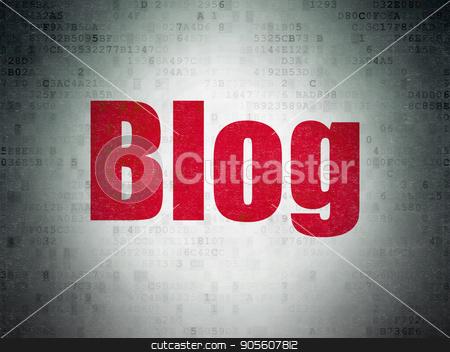 Web design concept: Blog on Digital Data Paper background stock photo, Web design concept: Painted red word Blog on Digital Data Paper background by mkabakov