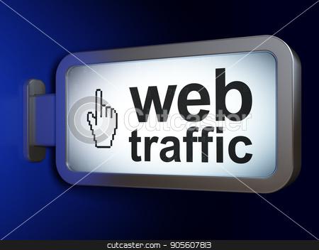 Web development concept: Web Traffic and Mouse Cursor on billboard background stock photo, Web development concept: Web Traffic and Mouse Cursor on advertising billboard background, 3D rendering by mkabakov