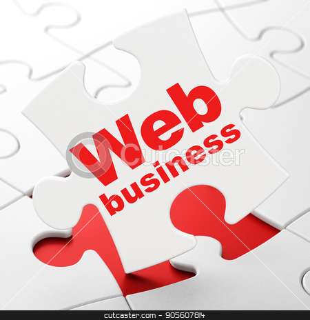 Web design concept: Web Business on puzzle background stock photo, Web design concept: Web Business on White puzzle pieces background, 3D rendering by mkabakov