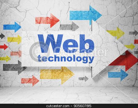 Web development concept: arrow with Web Technology on grunge wall background stock photo, Web development concept:  arrow with Web Technology on grunge textured concrete wall background, 3D rendering by mkabakov