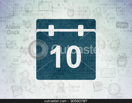 Timeline concept: Calendar on Digital Data Paper background stock photo, Timeline concept: Painted blue Calendar icon on Digital Data Paper background with Scheme Of Hand Drawing Time Icons by mkabakov