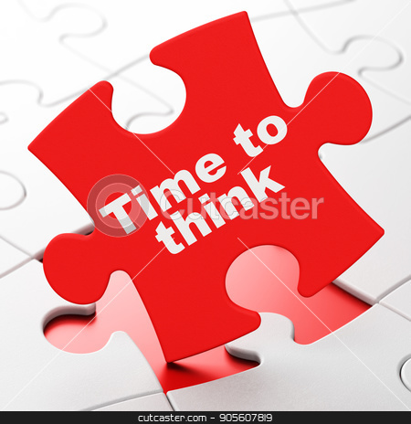 Time concept: Time To Think on puzzle background stock photo, Time concept: Time To Think on Red puzzle pieces background, 3D rendering by mkabakov
