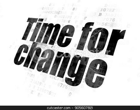 Timeline concept: Time for Change on Digital background stock photo, Timeline concept: Pixelated black text Time for Change on Digital background by mkabakov