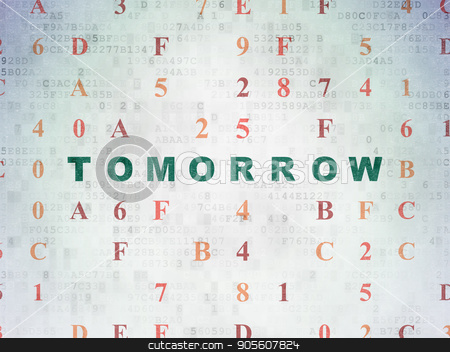 Timeline concept: Tomorrow on Digital Data Paper background stock photo, Timeline concept: Painted green text Tomorrow on Digital Data Paper background with Hexadecimal Code by mkabakov
