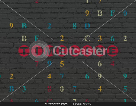 Timeline concept: Timeline on wall background stock photo, Timeline concept: Painted red text Timeline on Black Brick wall background with Hexadecimal Code by mkabakov
