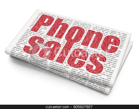 Advertising concept: Phone Sales on Newspaper background stock photo, Advertising concept: Pixelated red text Phone Sales on Newspaper background, 3D rendering by mkabakov