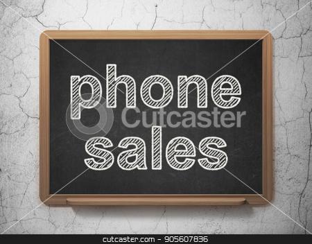 Marketing concept: Phone Sales on chalkboard background stock photo, Marketing concept: text Phone Sales on Black chalkboard on grunge wall background, 3D rendering by mkabakov