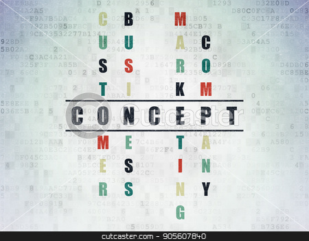 Advertising concept: Concept in Crossword Puzzle stock photo, Advertising concept: Painted black word Concept in solving Crossword Puzzle on Digital Data Paper background by mkabakov