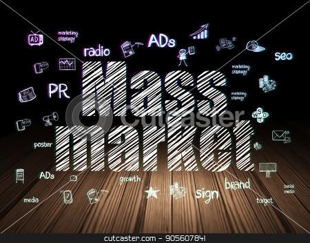 Advertising concept: Mass Market in grunge dark room stock photo, Advertising concept: Glowing text Mass Market,  Hand Drawn Marketing Icons in grunge dark room with Wooden Floor, black background by mkabakov