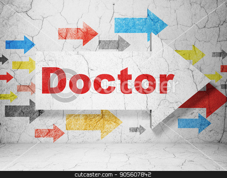 Health concept: arrow with Doctor on grunge wall background stock photo, Health concept:  arrow with Doctor on grunge textured concrete wall background, 3D rendering by mkabakov