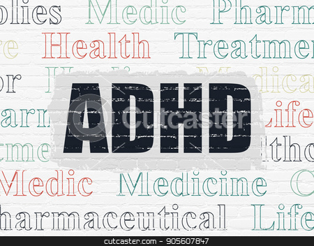 Health concept: ADHD on wall background stock photo, Health concept: Painted black text ADHD on White Brick wall background with  Tag Cloud by mkabakov