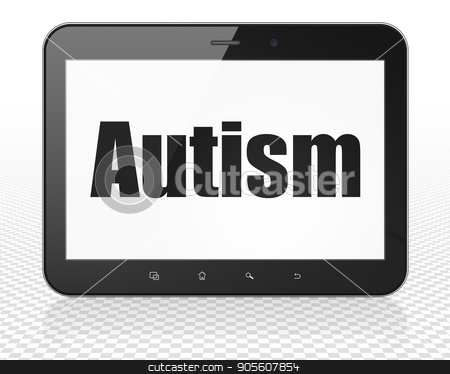 Medicine concept: Tablet Pc Computer with Autism on display stock photo, Medicine concept: Tablet Pc Computer with black text Autism on display, 3D rendering by mkabakov
