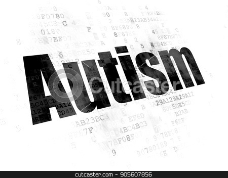Healthcare concept: Autism on Digital background stock photo, Healthcare concept: Pixelated black text Autism on Digital background by mkabakov