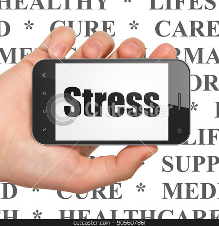Medicine concept: Hand Holding Smartphone with Stress on display stock photo, Medicine concept: Hand Holding Smartphone with  black text Stress on display,  Tag Cloud background, 3D rendering by mkabakov