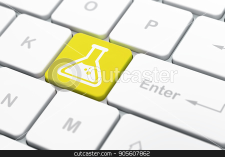 Science concept: Flask on computer keyboard background stock photo, Science concept: computer keyboard with Flask icon on enter button background, selected focus, 3D rendering by mkabakov