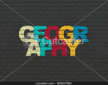 Science concept: Geography on wall background stock photo, Science concept: Painted multicolor text Geography on Black Brick wall background by mkabakov