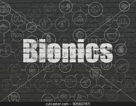 Science concept: Bionics on wall background stock photo, Science concept: Painted white text Bionics on Black Brick wall background with Scheme Of Hand Drawn Science Icons by mkabakov