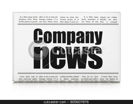 News concept: newspaper headline Company News stock photo, News concept: newspaper headline Company News on White background, 3D rendering by mkabakov