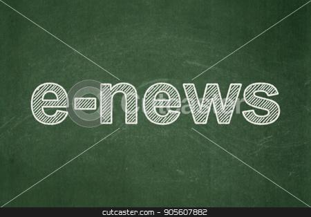 News concept: E-news on chalkboard background stock photo, News concept: text E-news on Green chalkboard background by mkabakov