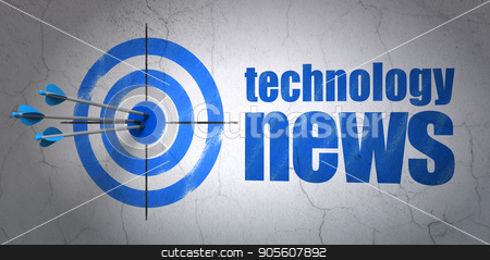 News concept: target and Technology News on wall background stock photo, Success news concept: arrows hitting the center of target, Blue Technology News on wall background, 3D rendering by mkabakov