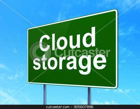 Cloud networking concept: Cloud Storage on road sign background stock photo, Cloud networking concept: Cloud Storage on green road highway sign, clear blue sky background, 3D rendering by mkabakov
