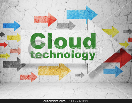 Cloud networking concept: arrow with Cloud Technology on grunge wall background stock photo, Cloud networking concept:  arrow with Cloud Technology on grunge textured concrete wall background, 3D rendering by mkabakov