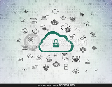 Cloud computing concept: Cloud With Padlock on Digital Data Paper background stock photo, Cloud computing concept: Painted green Cloud With Padlock icon on Digital Data Paper background with  Hand Drawn Cloud Technology Icons by mkabakov