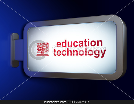 Studying concept: Education Technology and Computer Pc on billboard background stock photo, Studying concept: Education Technology and Computer Pc on advertising billboard background, 3D rendering by mkabakov