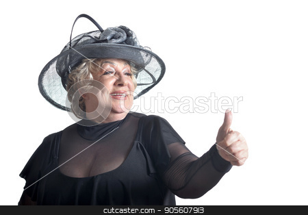 Senior woman in blouse stock photo, Senior woman in blouse with thumb up smiling on white background by Ruslan Huzau