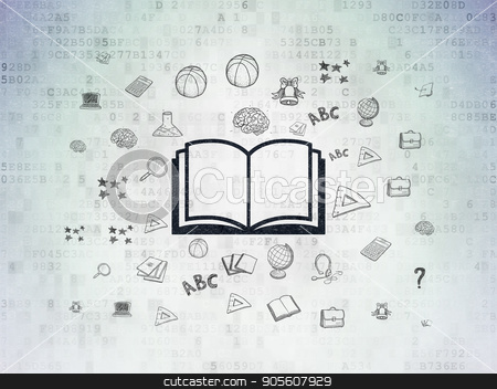 Education concept: Book on Digital Data Paper background stock photo, Education concept: Painted black Book icon on Digital Data Paper background with  Hand Drawn Education Icons by mkabakov