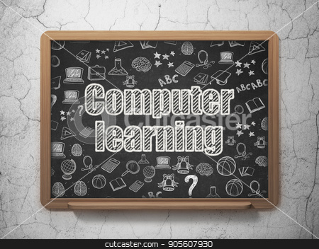 Education concept: Computer Learning on School board background stock photo, Education concept: Chalk White text Computer Learning on School board background with  Hand Drawn Education Icons, 3D Rendering by mkabakov