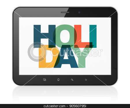 Holiday concept: Tablet Computer with Holiday on  display stock photo, Holiday concept: Tablet Computer with Painted multicolor text Holiday on display, 3D rendering by mkabakov
