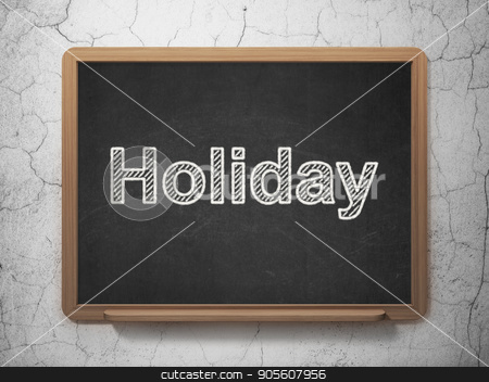 Holiday concept: Holiday on chalkboard background stock photo, Holiday concept: text Holiday on Black chalkboard on grunge wall background, 3D rendering by mkabakov