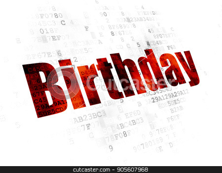 Entertainment, concept: Birthday on Digital background stock photo, Entertainment, concept: Pixelated red text Birthday on Digital background by mkabakov