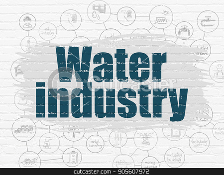 Industry concept: Water Industry on wall background stock photo, Industry concept: Painted blue text Water Industry on White Brick wall background with Scheme Of Hand Drawn Industry Icons by mkabakov