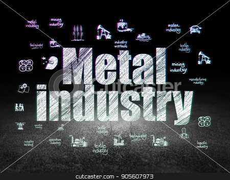 Manufacuring concept: Metal Industry in grunge dark room stock photo, Manufacuring concept: Glowing text Metal Industry,  Hand Drawn Industry Icons in grunge dark room with Dirty Floor, black background by mkabakov