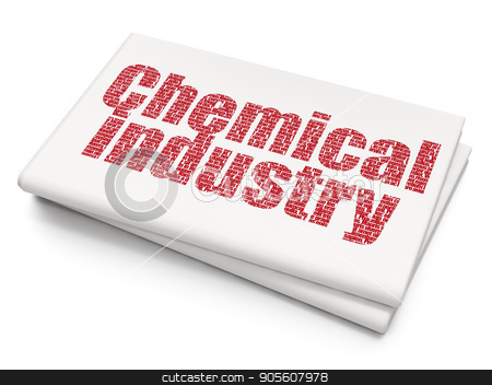 Manufacuring concept: Chemical Industry on Blank Newspaper background stock photo, Manufacuring concept: Pixelated red text Chemical Industry on Blank Newspaper background, 3D rendering by mkabakov