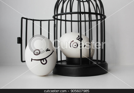 Eggs with painted face. Photo for your design stock photo, Eggs with painted face. Photo for your design. two eggs. Egg in a cage by Kseniia