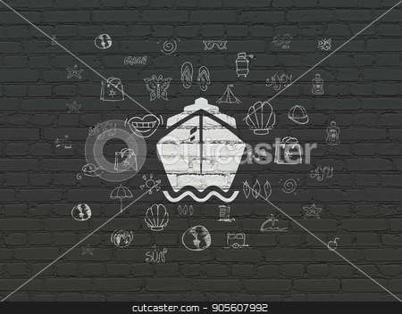 Vacation concept: Ship on wall background stock photo, Vacation concept: Painted white Ship icon on Black Brick wall background with  Hand Drawn Vacation Icons by mkabakov