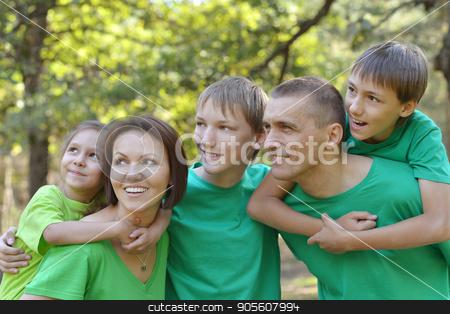 family having fun outdoors stock photo, Portrait of a big happy family having fun outdoors by Ruslan Huzau