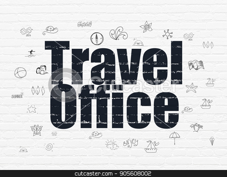 Vacation concept: Travel Office on wall background stock photo, Vacation concept: Painted black text Travel Office on White Brick wall background with  Hand Drawn Vacation Icons by mkabakov