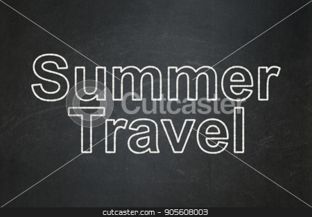 Vacation concept: Summer Travel on chalkboard background stock photo, Vacation concept: text Summer Travel on Black chalkboard background by mkabakov
